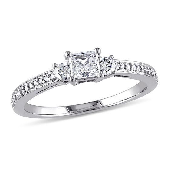 Zales Tourmaline and 1/5 CT. T.w. Diamond Engagement Ring in 10K White Gold bTvik