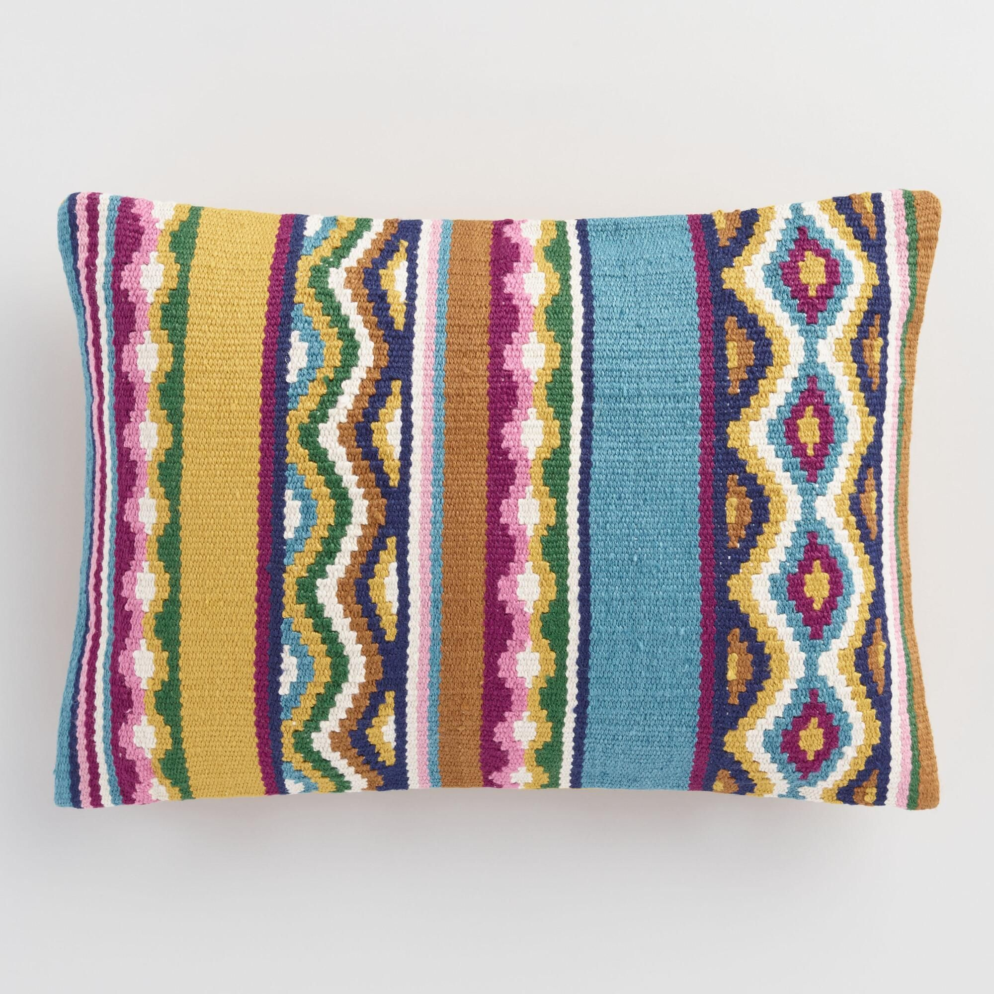 Multicolored Catalina Stripe Indoor Outdoor Patio Throw Pillow