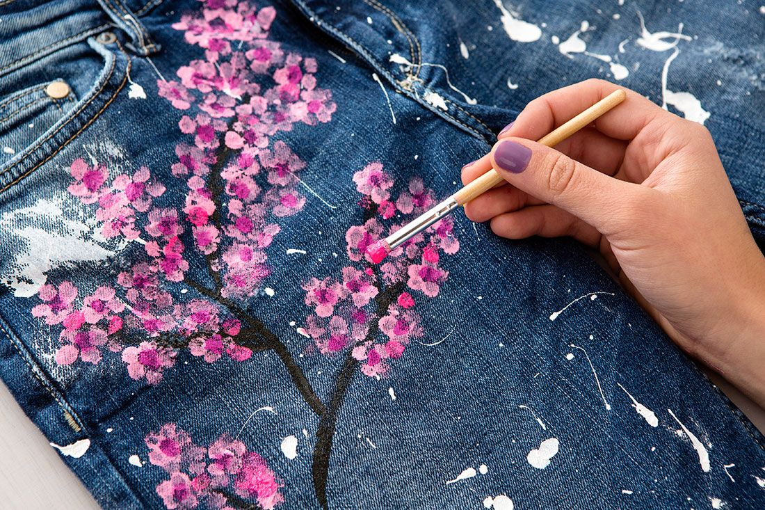 Cherry Blossom Embroidered Jean Shorts