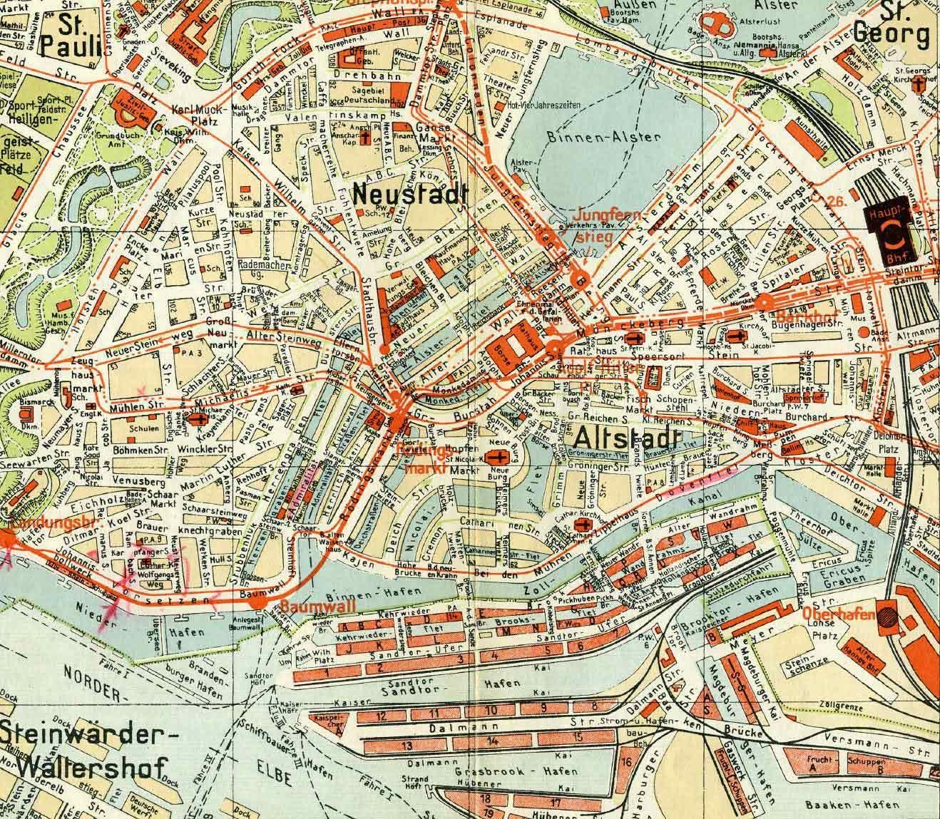 Historische Karten Der Geografischen Entwicklung Hamburgs