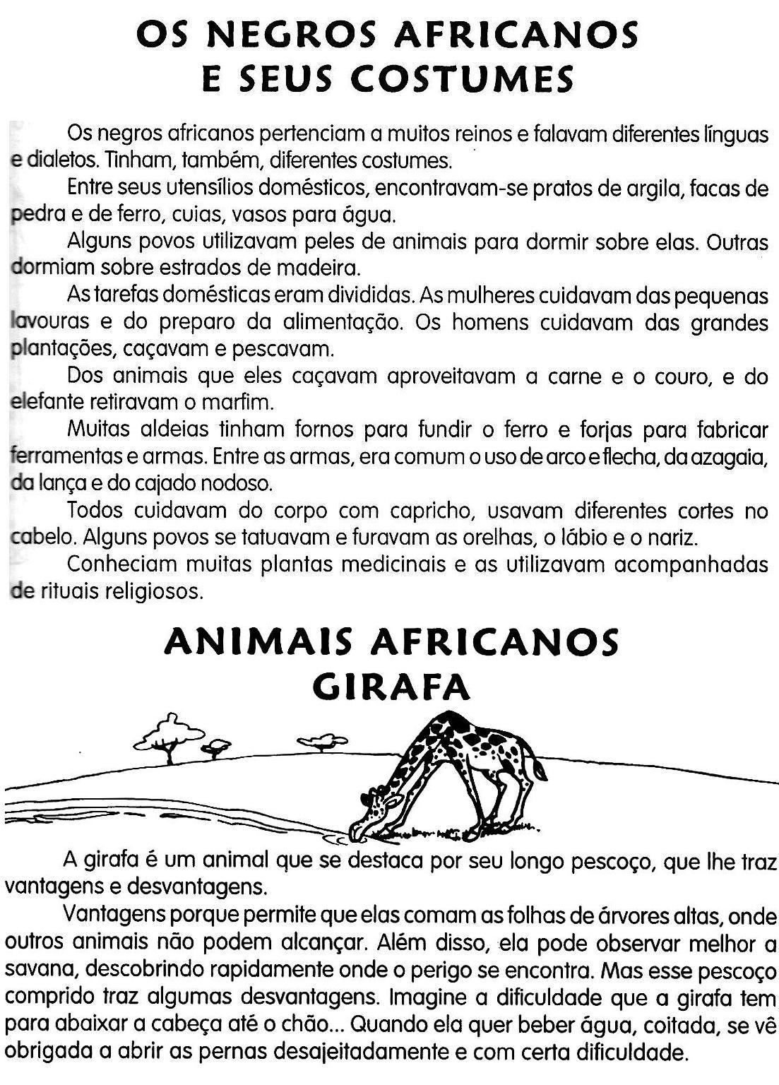 Os Costumes Africanos Com Imagens Atividades Sobre Consciencia