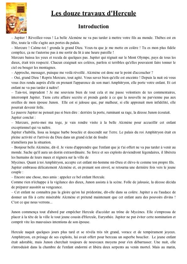 Les 12 Travaux D'hercule Questionnaire Cm2 : travaux, d'hercule, questionnaire, Tapuscrit, Travaux, D'Hercule, Hercule,, Lecture, Cours, Bibliques