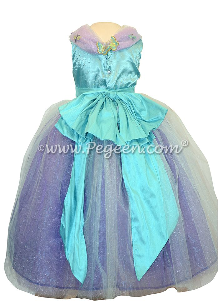 Flower girl dresses in Turquoise and Purple shades with butterfliest - Our Cinderella Princess Flower Girl Dresses called Aura Quartz