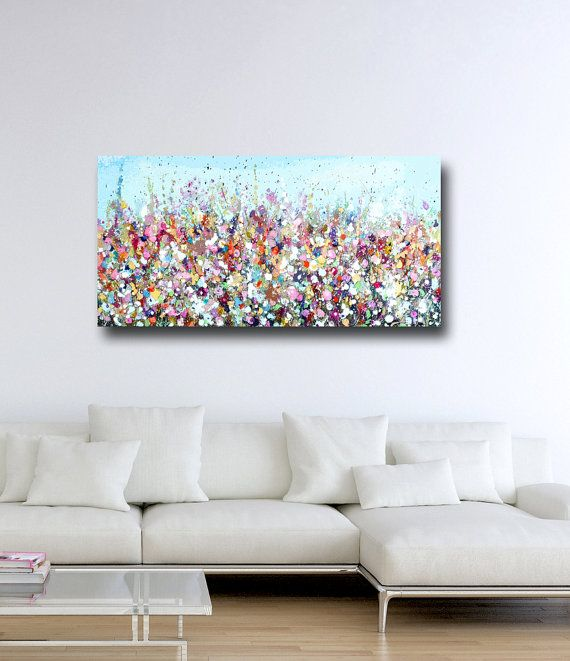 Large Panoramic Canvas Art Floral Wall Art Pink and by Tamarrisart