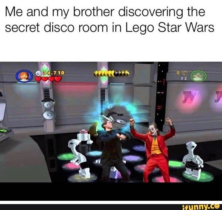 Me And My Brother Discovering The Secret Disco Room In Lego Star Wars Ifunny Star Wars Humor Funny Star Wars Memes Lego Star Wars Games