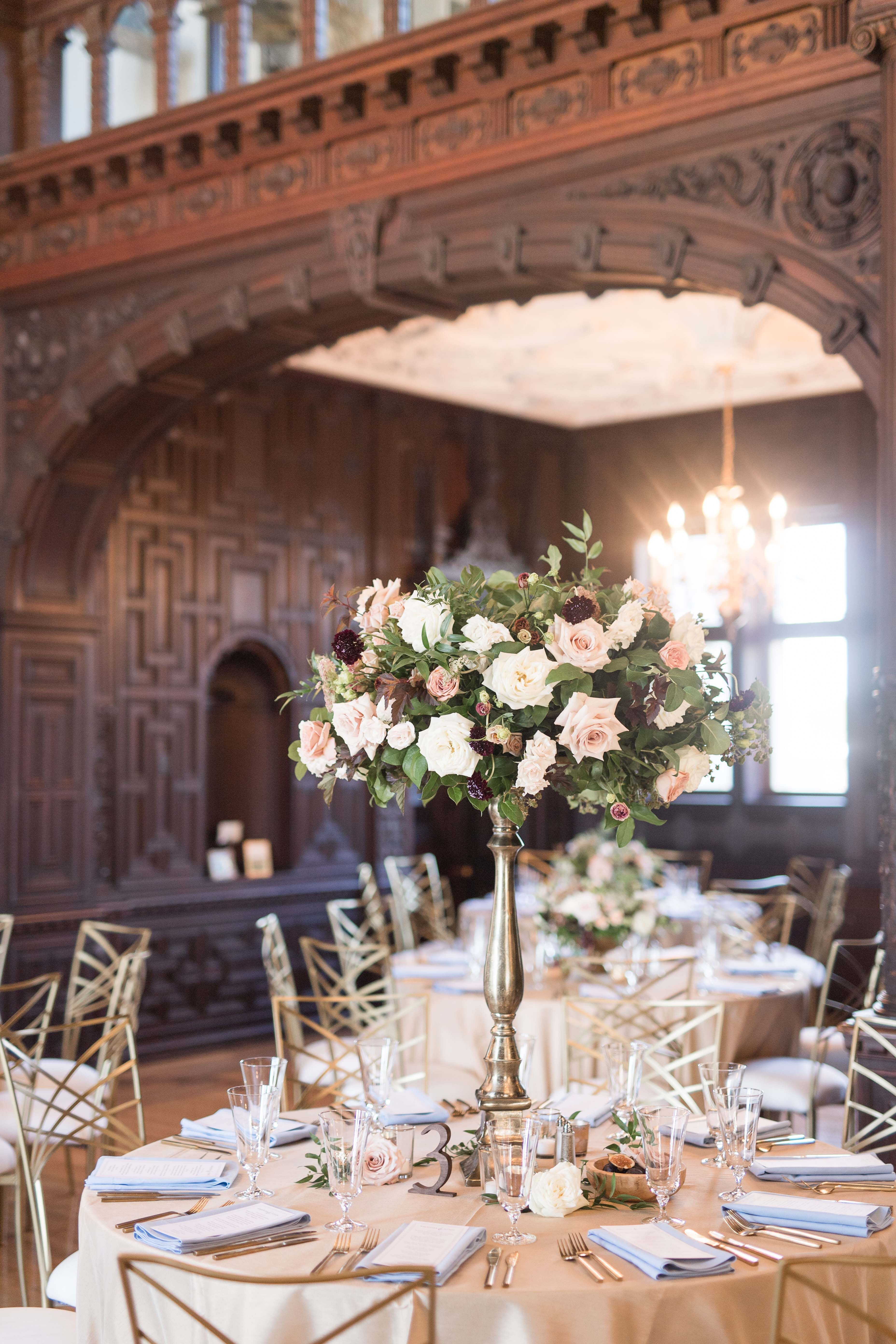 Elegant Dusty Pink Floral Centerpiece At Dreamy Connecticut Wedding Reception At The Branford House In Groton Connecticut Dream Turned Reality By Florist Blu
