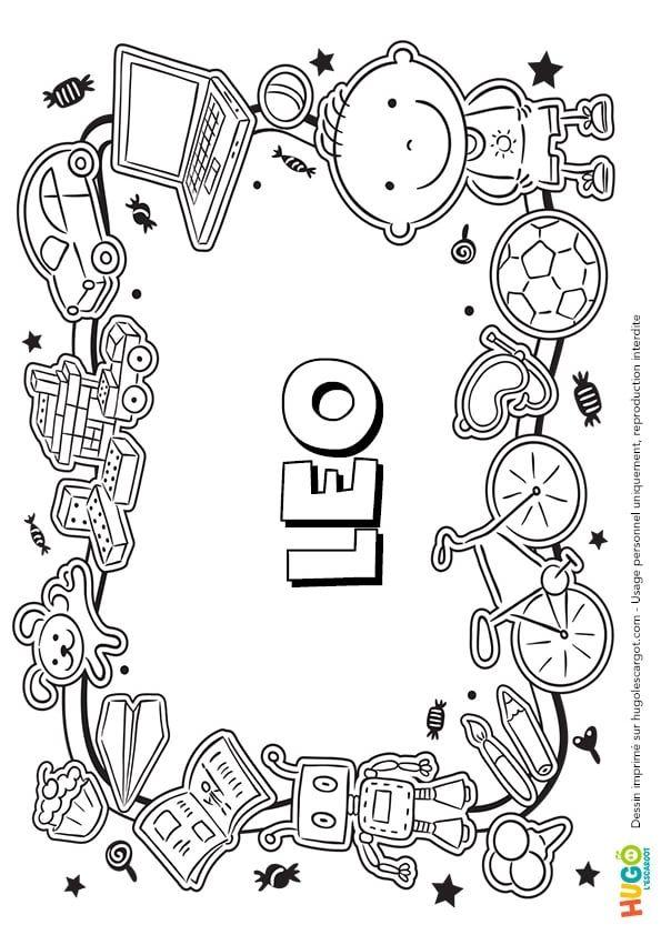Coloriage Et Illustration Du Prénom Leo Le Prénom Est écrit Dans Le