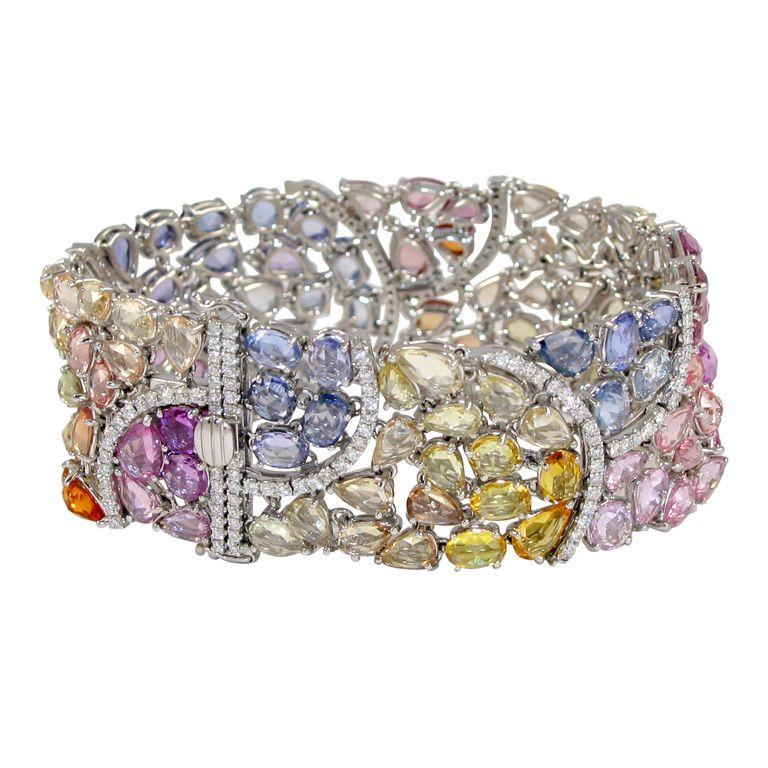 Rainbow Bracelet. 125 fancy color sapphires 56.95 carats,181 diamonds 2.11 carats. India Modern