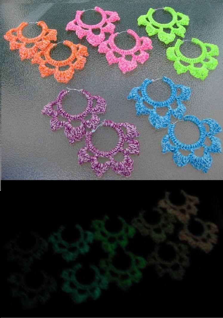 Glow in the Dark Crocheted Hoop Earrings by ~crazynina on deviantART