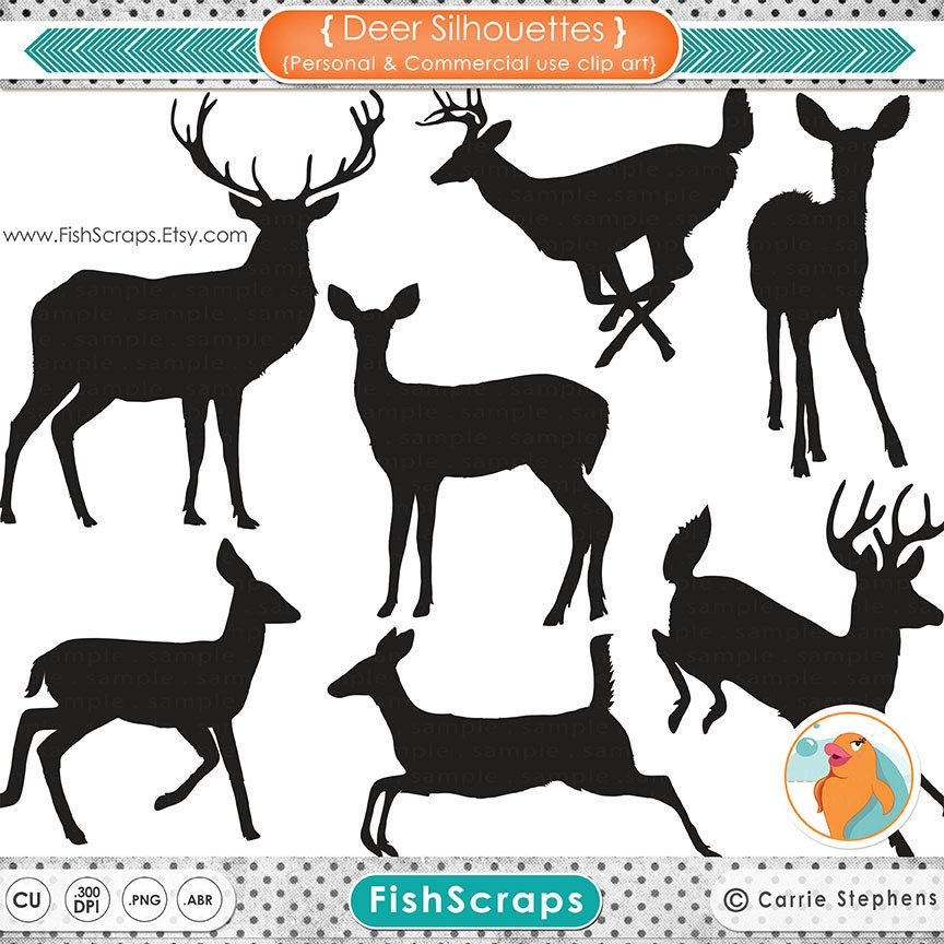 Deer Clip Art Silhouettes & Outlines, Buck and Doe Party