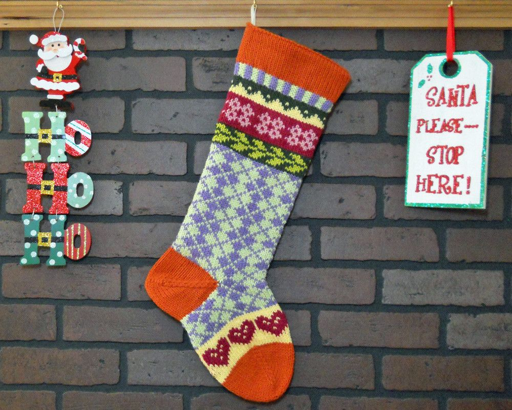 Argyle christmas stocking hand knit in orange can be hand knit christmas stocking plaid fair isle knit with teal cuff and blue trees can be personalized housewarming gift wedding gift bankloansurffo Choice Image