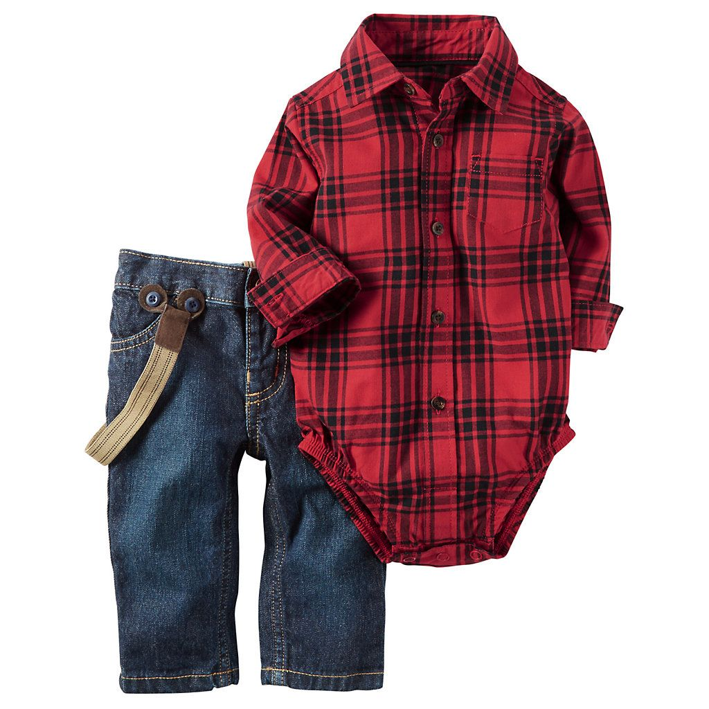 Big flannel outfits  Baby Boy Carterus Red Plaid Flannel Bodysuit u Suspender Jeans Set