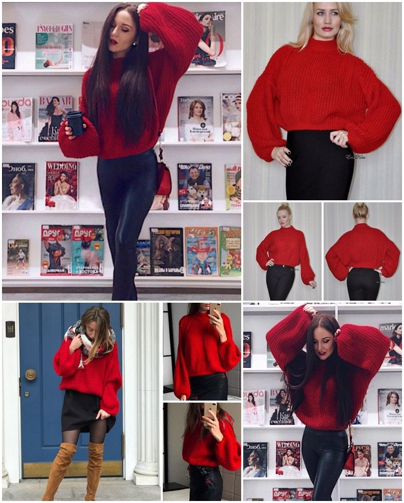 f6ae9c8724 Winter lantern sleeve knitted sweater round neck sweater ~ IFashionKilla:  Shopping online women clothing store - Sweater outfits For Work Fall For  Teens ...