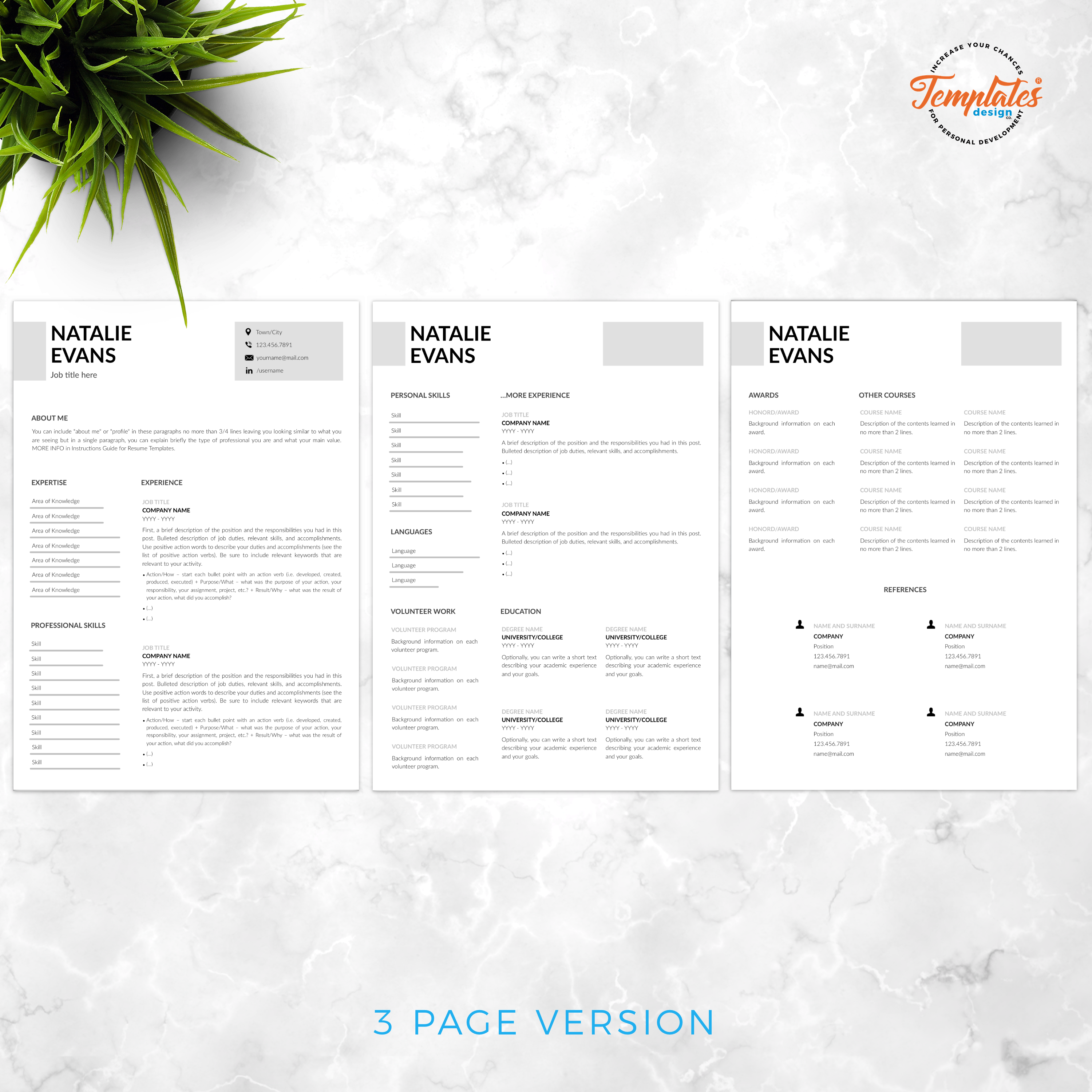 Resume Template For Ms Word Docx Pages Pages With Us Letter Size Files And A4 Size Files 1 2 Resume Templates Modern Resume Template Creative Resume