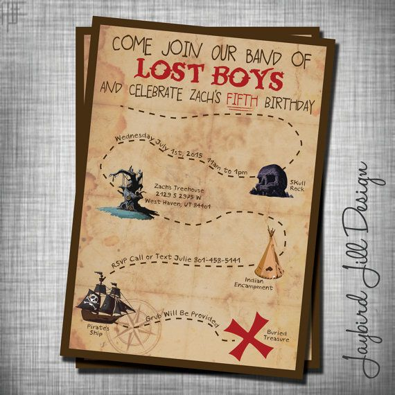 Lost boys birthday invitation peter pan neverland party for Peter pan invitation template