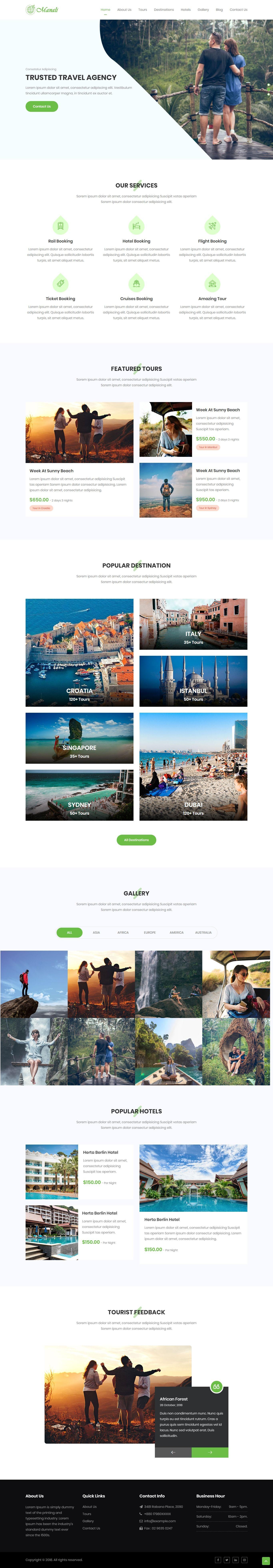 Tour & Travels Agency HTML Website Template | HTML Travel Website