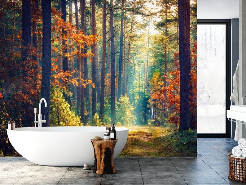 Autumn Forest Wallpaper Peel And Stick Removable Landscape Etsy In 2021 Forest Wallpaper Forest Mural Mural Wallpaper