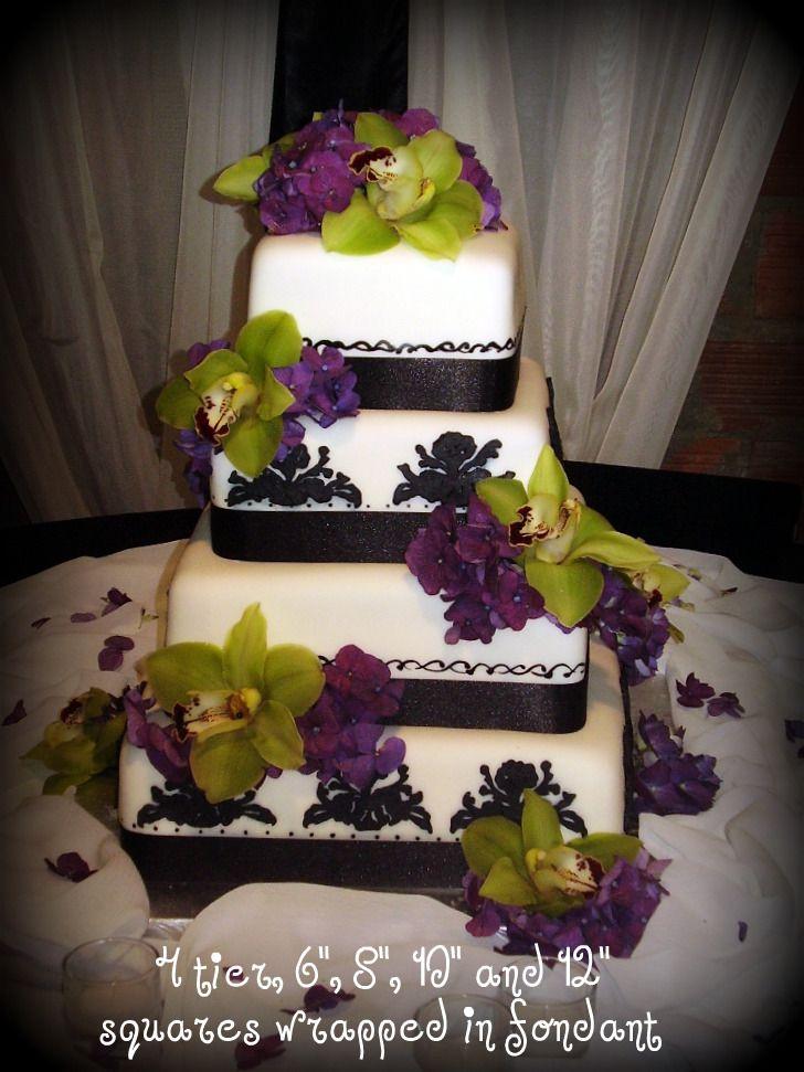 Green And Purple Flowers Green Wedding Cake