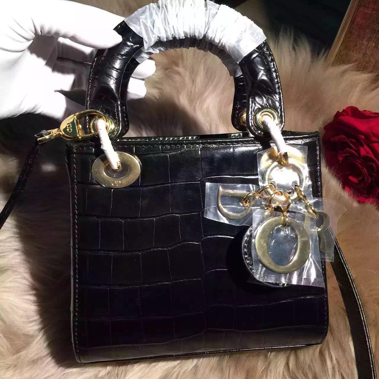 d44dc401a Dior Lady Dior Mini Bag In Crocodile Pattern Calfskin Black(Gold Hardware)