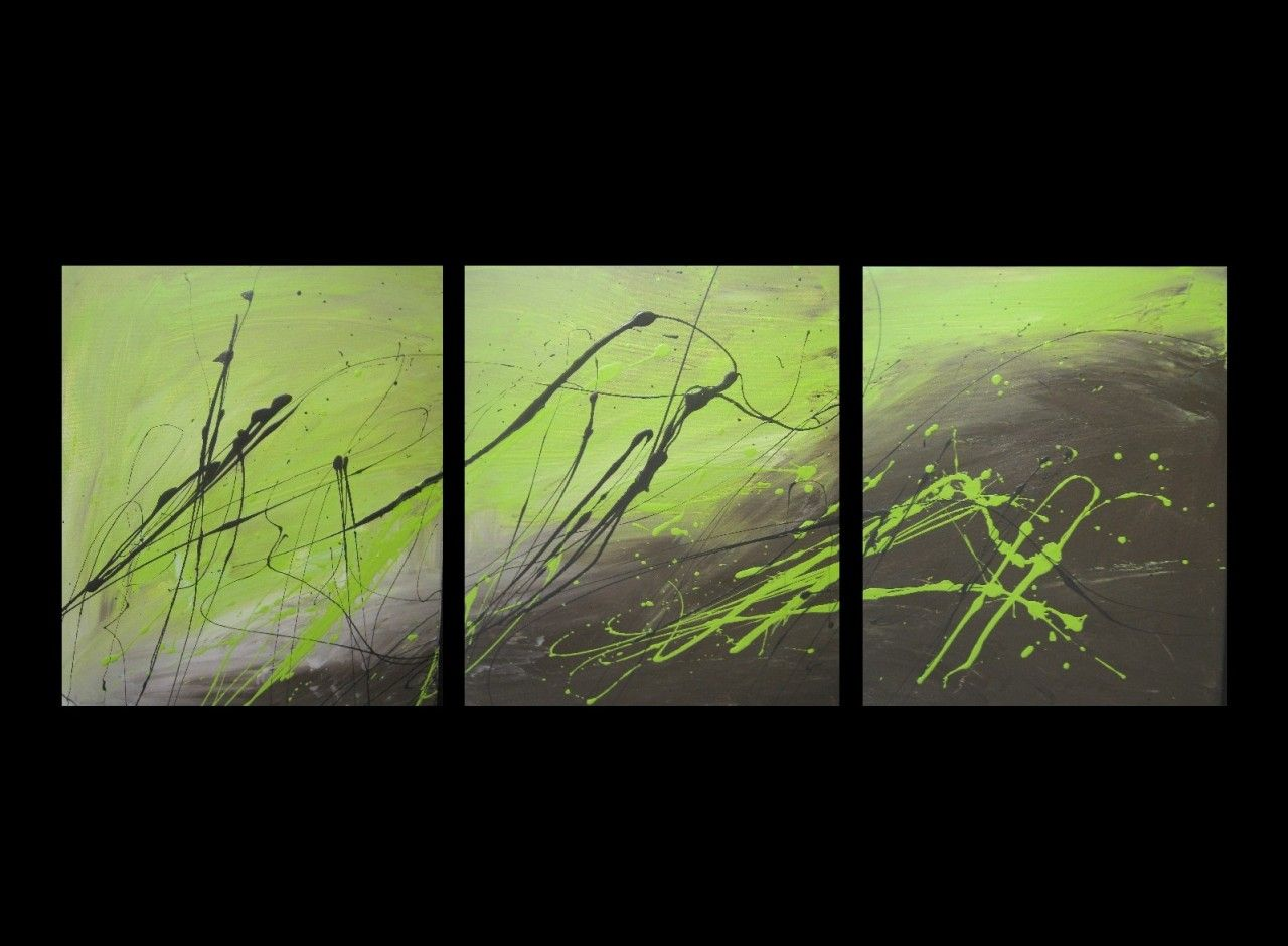 Superieur 3 ABSTRACT CANVAS PAINTING Lime Green And Brown. Modern Wall Art Artwork