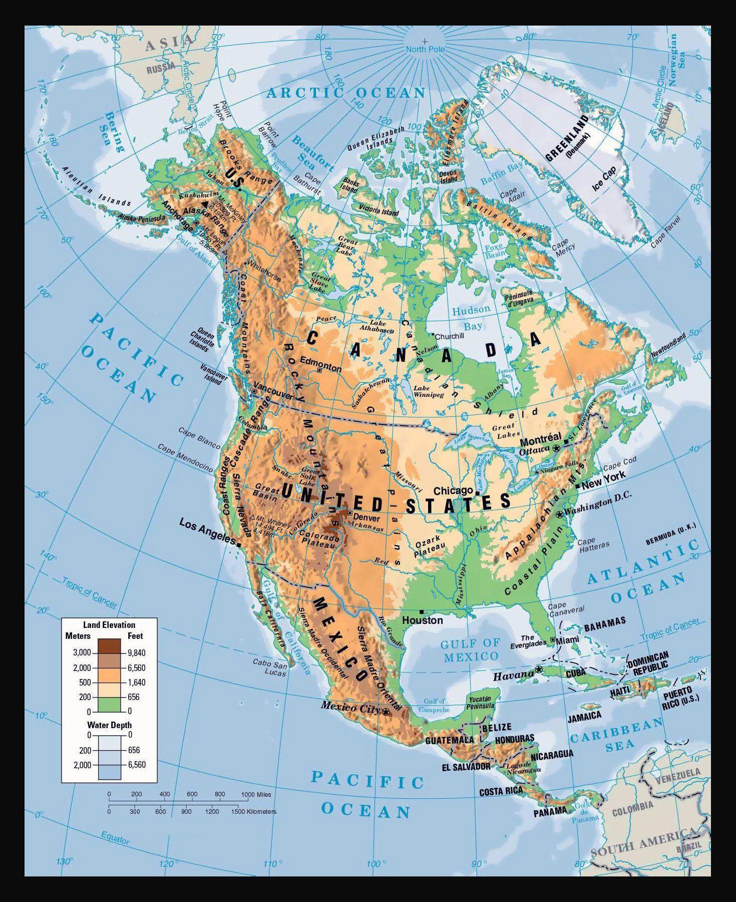 North America Physical Map Worksheet North America