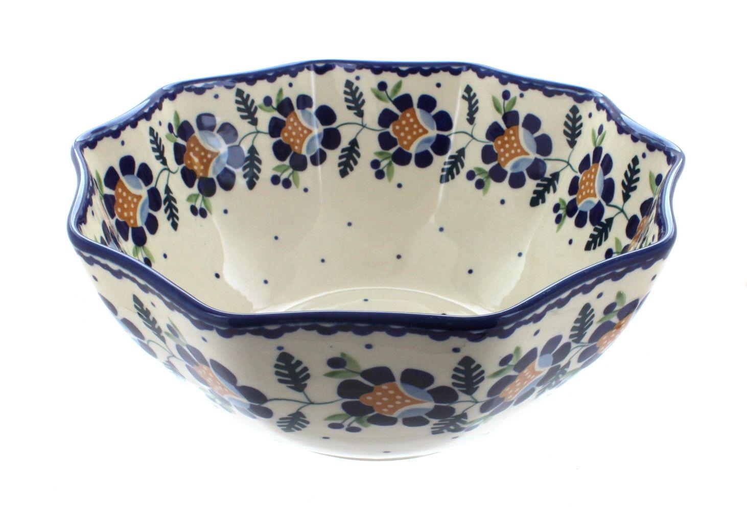 Sunflower Small Decagonal Serving Bowl - Blue Rose Polish Pottery