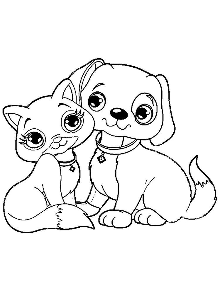 Kitten And Puppy Coloring Pages The Kitten Is A New Born Little