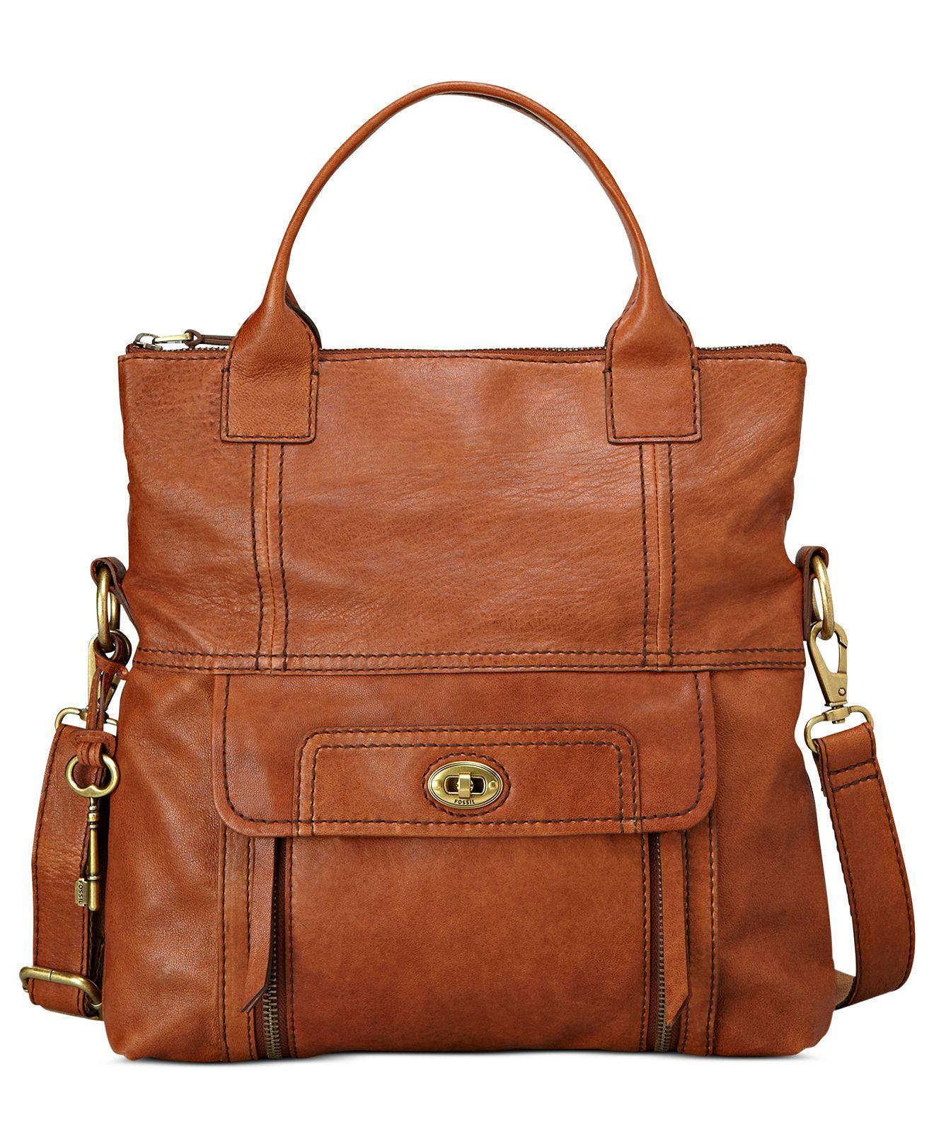 8d62998bd1c933 Fossil Handbag, Stanton Leather Tote - Fossil - Handbags & Accessories -  Macy's