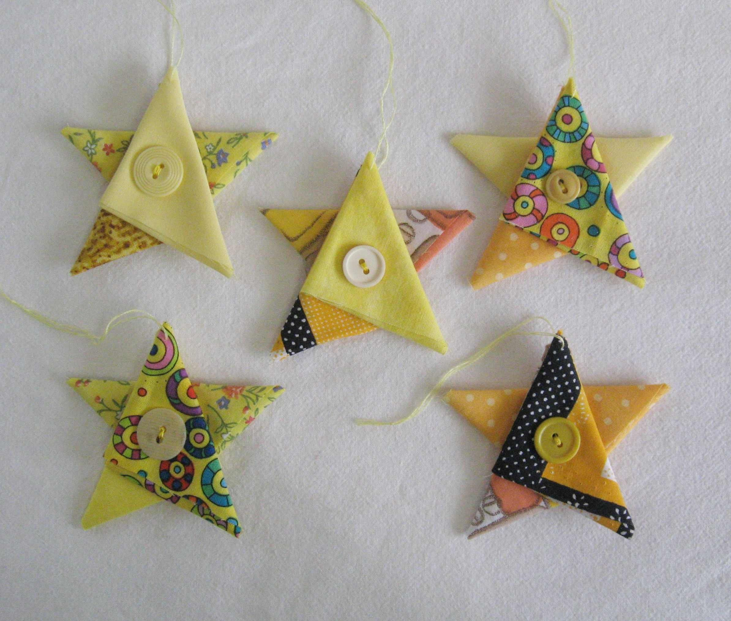 Yellow Star Ornaments Christmas Ornaments Fabric Star Country Cottage Christmas Decor Christmas Star Yellow Tree Decorations Fabric Stars Christmas Fabric Cottage Christmas