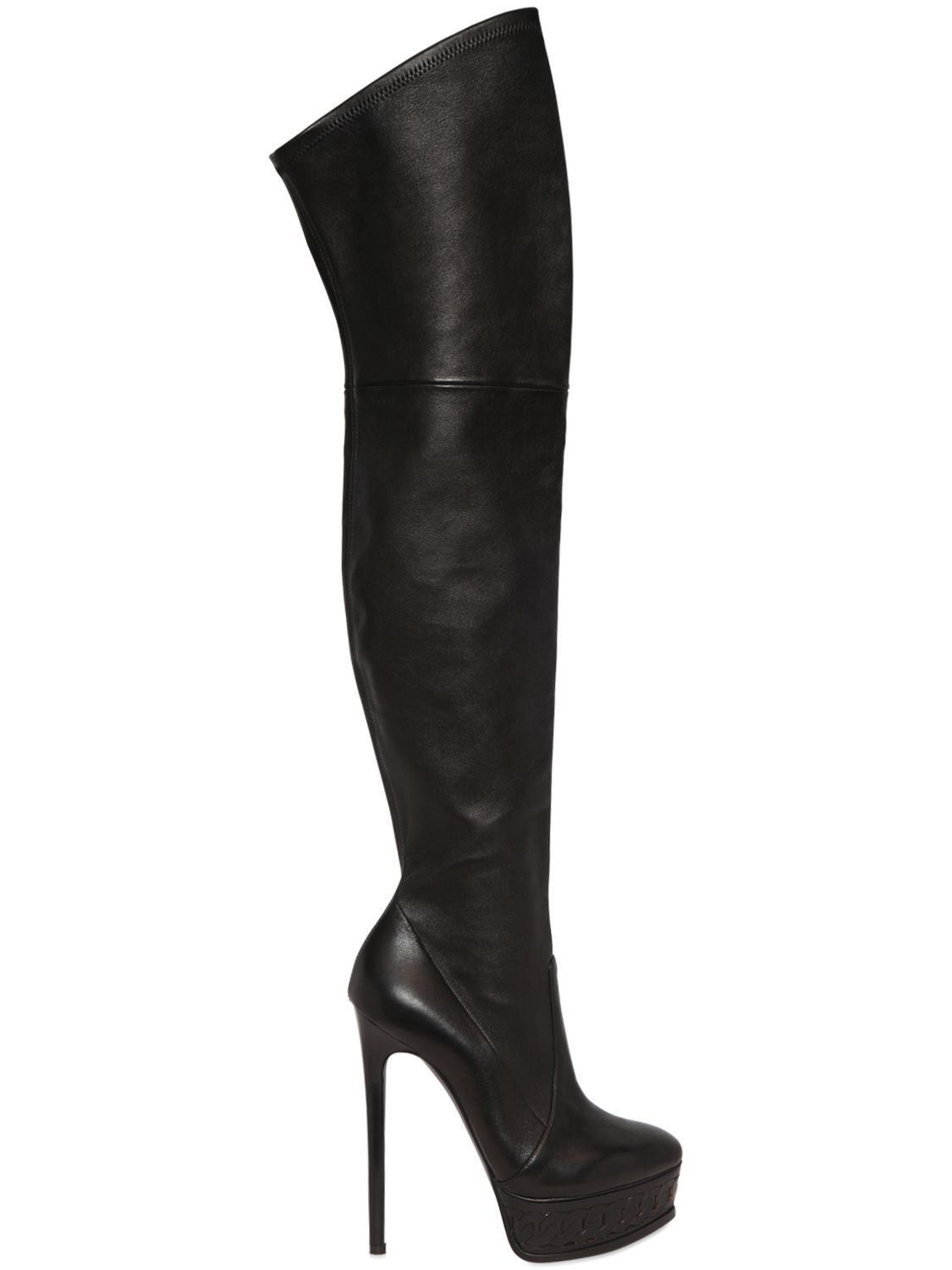 CASADEI 150MM STRETCH LEATHER BOOTS. #casadei #shoes #