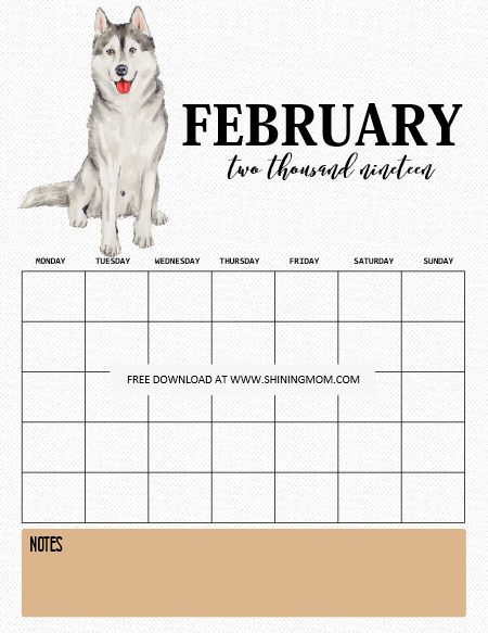 February 2019 Calendars Dog 2019 Calendar and Life Planner Free Printables for Dog Lovers