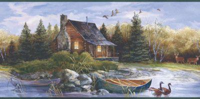 Tranquil Log Cabin Wallpaper Border By York Ebay Wallpaper Border Scenic Wallpaper Cabin
