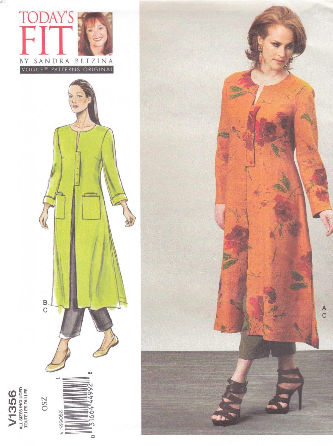 Vogue Sewing Pattern 1356 Misses Women S Plus Size 10 32w Sandra Betzina Duster Tapered Pants Need A Diffe Or Check Out Our Www