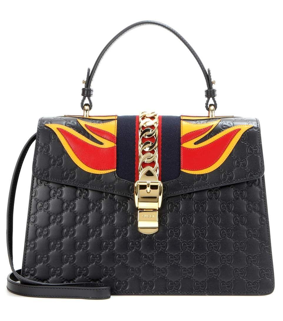 Signature Sylvie black embossed leather shoulder bag