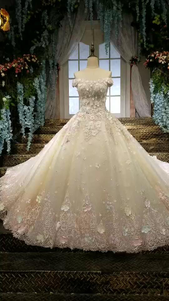 2019 Los vestidos de boda magníficos ata para arriba para arriba del hombro con Appliques y las flores hechas a mano