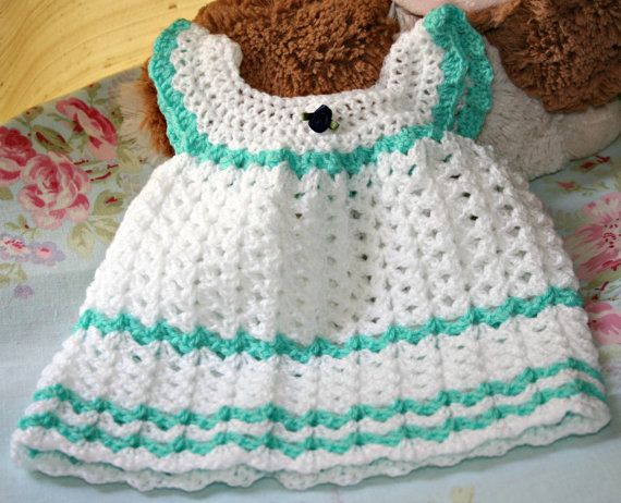 White crochet baby dress cute angel wing pinafore newborn baby ...