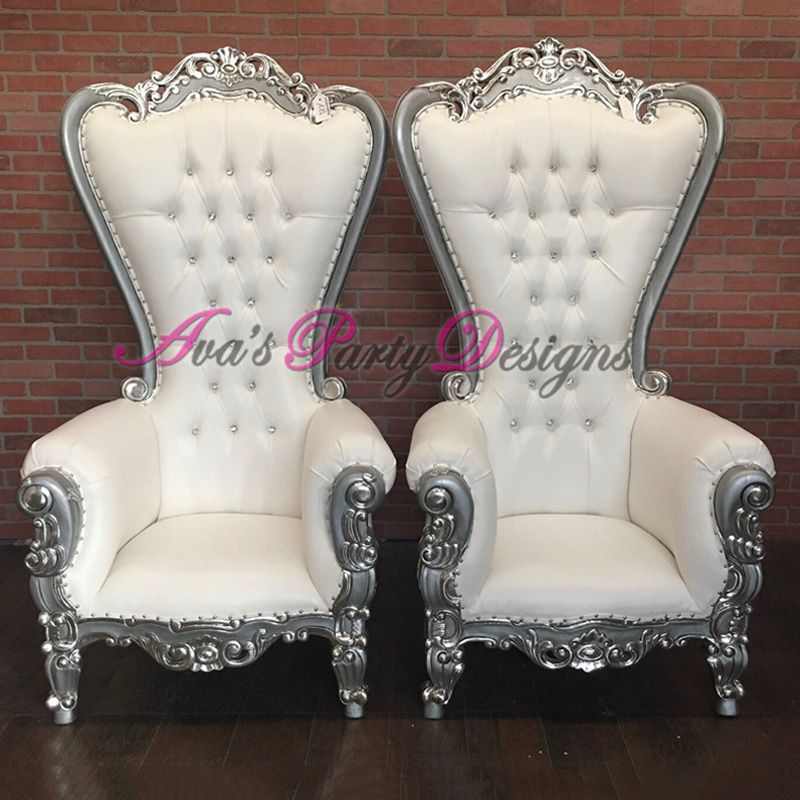 White And Silver Duchess Highback Chairs For Party Rental Great As A Baby Shower Chair Wedding Chair Or Any Specia Baby Shower Chair White Chair Shower Chair