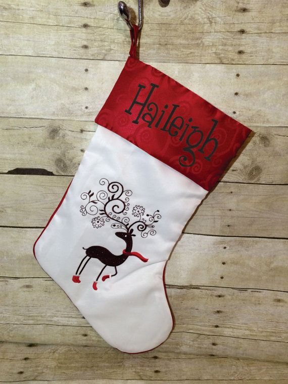 Personalized Christmas Stocking Cute by BeauChienBoutique on Etsy