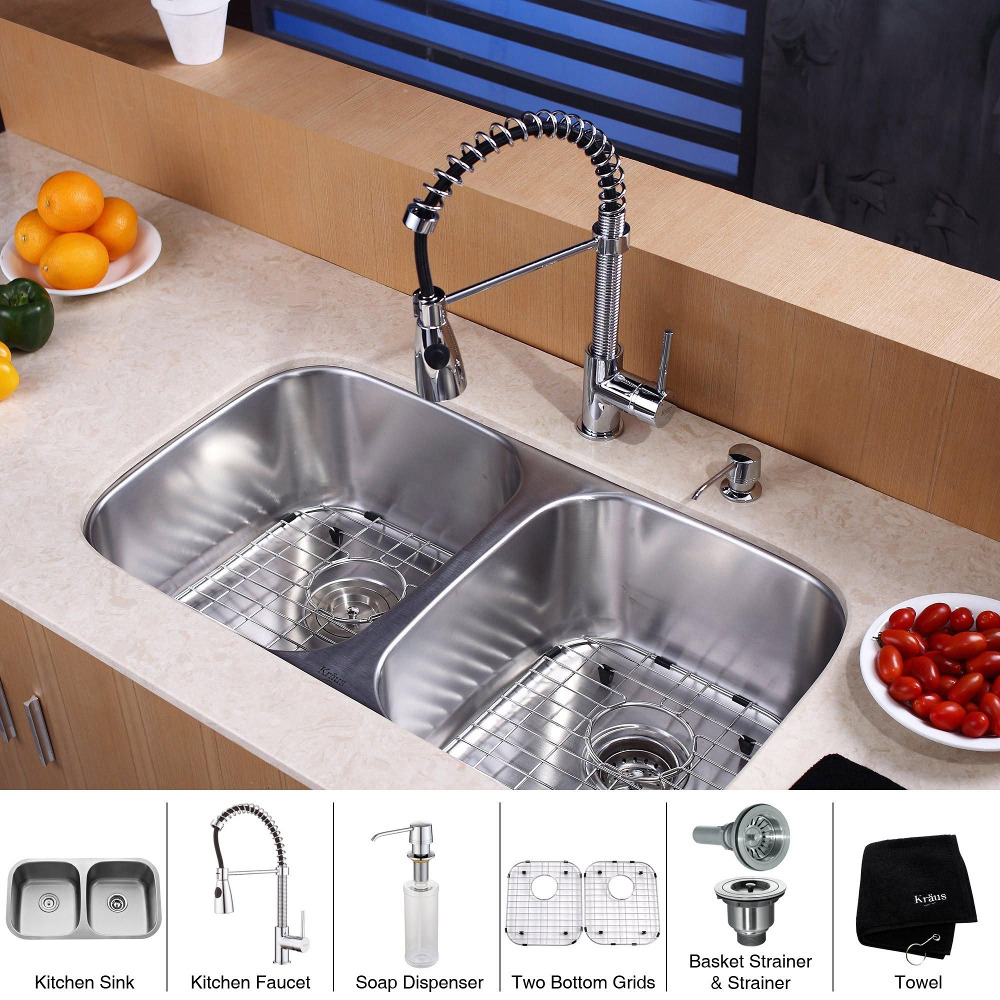 Kraus 32 Inch Undermount Double Bowl Stainless Steel Silver Kitchen Sink With Commercial Style Faucet And Soap Dispenser Inches 70 30