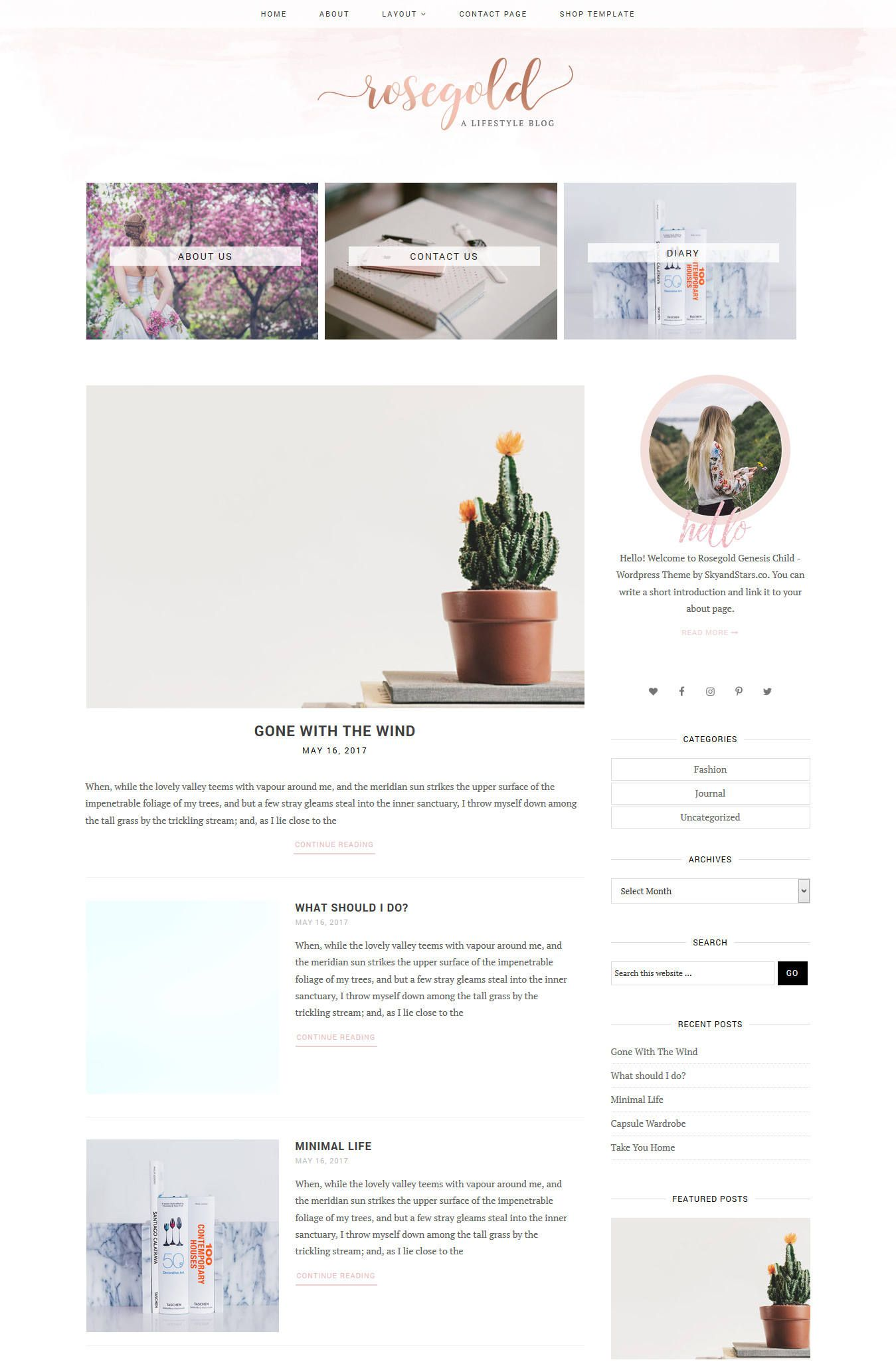 new rosegold watercolor wordpress theme for genesis framework