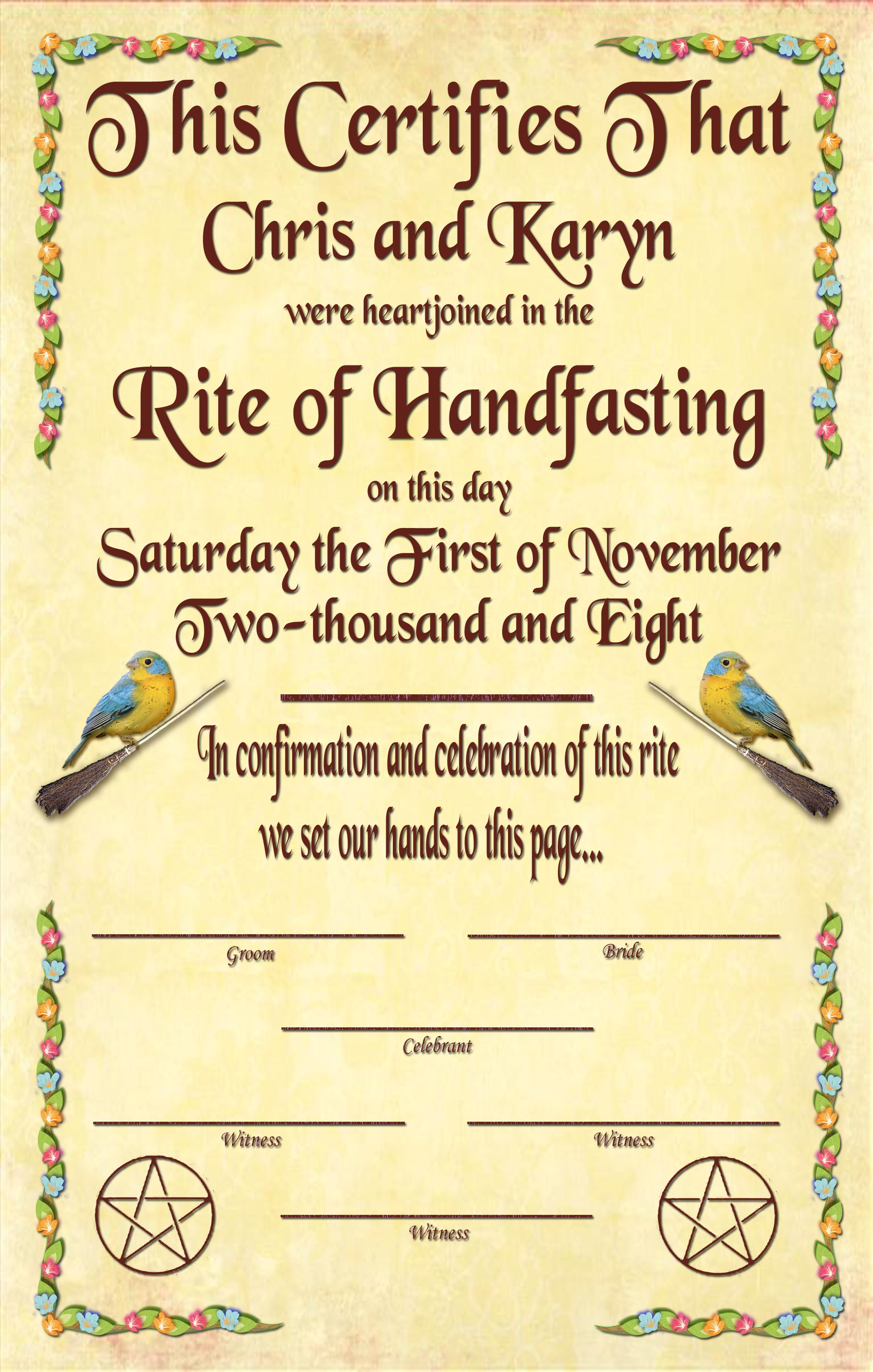 handfasting certificate free - Google Search | For Our Handfasting ...