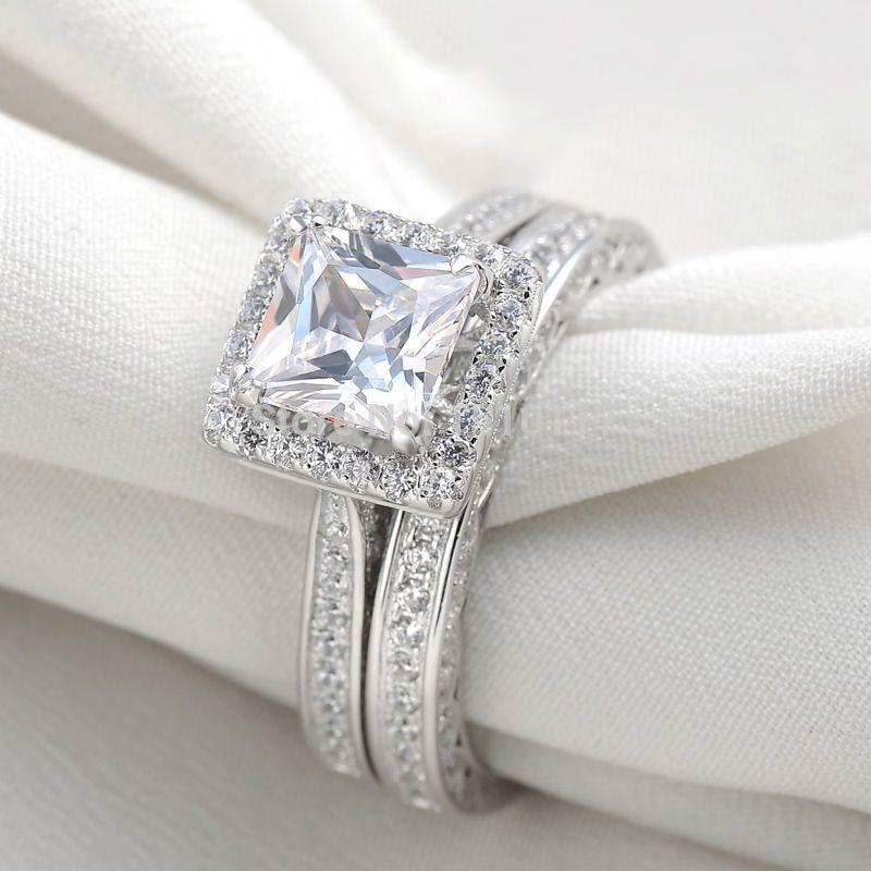 Schiff Von UNS Platin Überzog AAA CZ Prinzessin Cut Wedding Ring Set Engagement Band Klassische Schmuck Für Frauen Freies Verschiffen
