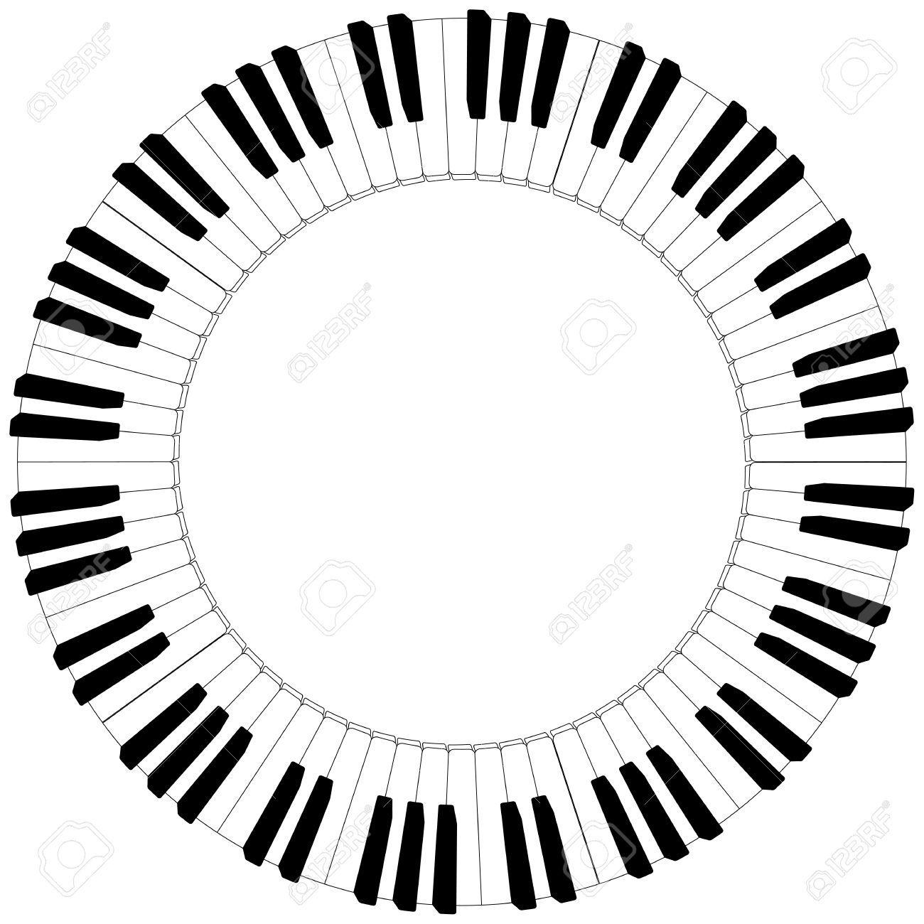 36510443 Round Piano Keyboard Frame In Black And White Stock Vector Piano Jpg 1300 1300 Disenos De Unas