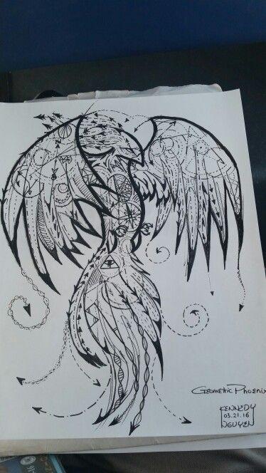 geometric phoenix tattoo me draw tatouage. Black Bedroom Furniture Sets. Home Design Ideas