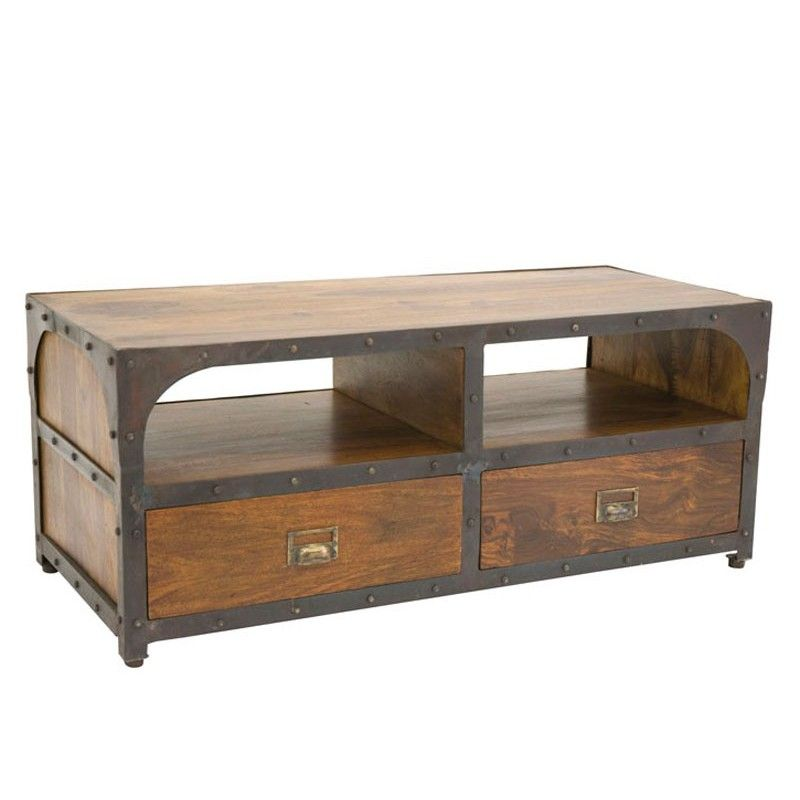 meuble tv retro en fer forge et bois