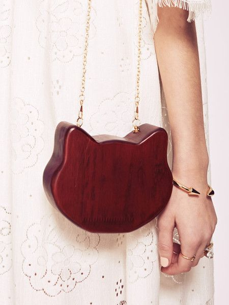 Dahlia Lima Brick Red Cat Shaped Wooden Box Clutch Bag  #bag