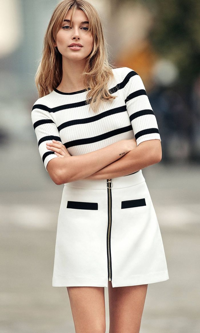 Model wears Striped Ribbed Elbow Sleeve Sweater for lookbook photoshoot