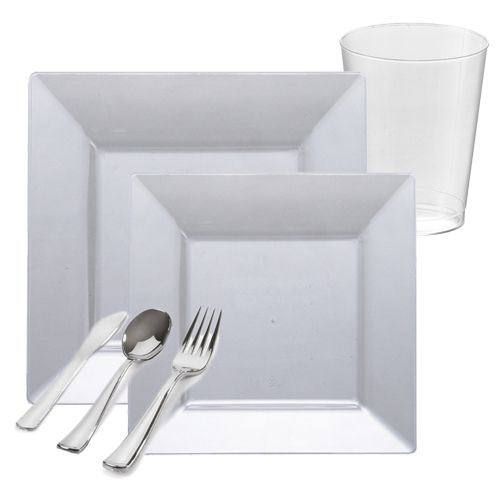 Plastic White Square Wedding package tableware. Package of 20 large plastic plates settings including  sc 1 st  Pinterest & White Square Plastic Tableware Package - Value | Plastic tumblers ...