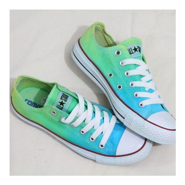 Tie dye ombre canvas shoes ❤ liked on
