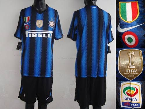 release date 6e3dd a1998 Inter Milan Blank Blue Black Strip With 2010 FIFA Patch Home ...